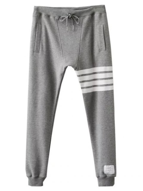 best Striped Drawstring Active Pants - GRAY M Mobile