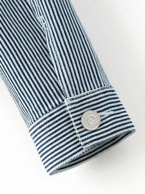 ladies Striped Denim Jacket - BLUE M Mobile