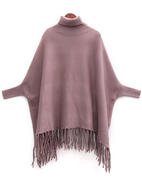 fancy Tassels Turtle Neck Batwing Jumper - LIGHT COFFEE ONE SIZE Mobile