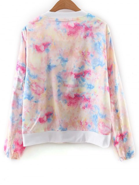 womens Tie Dye Print Stand Neck Jacket - COLORFUL M Mobile