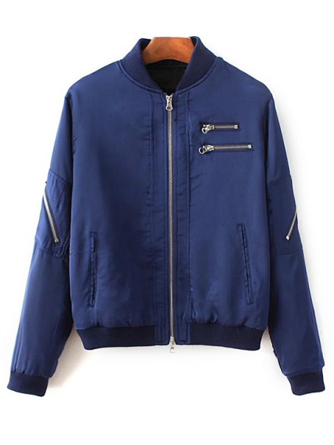 women's Slim Zipper Embellished Stand Collar Bomber Jacket - BLUE M Mobile