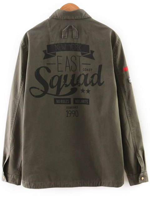 buy Patch Design Utility Jacket - ARMY GREEN M Mobile