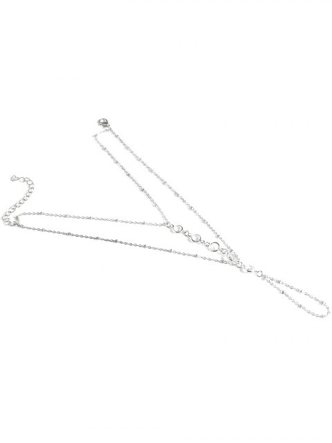 chic Faux Crystal Beaded Toe Ring Anklet - SILVER  Mobile