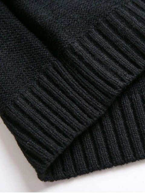 shop Cable Knit Lacing Sweater - BLACK ONE SIZE Mobile