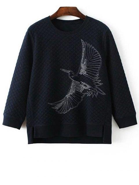 womens Bird Embroidered Crew Neck Sweatshirt - CADETBLUE L Mobile