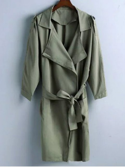 latest Trench Coat - OLIVE GREEN S Mobile