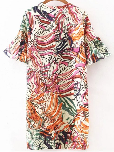 unique Ruffle Sleeve Printed Tunic Dress - COLORMIX S Mobile