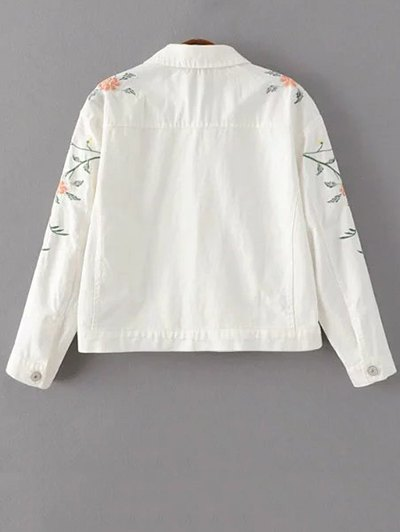 Floral Embroidered Turn-Down Collar Jacket - WHITE M Mobile