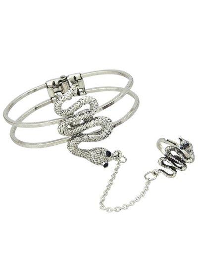 Snake Bracelet With Ring - SILVER  Mobile