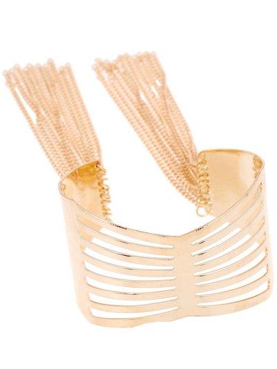 Cut Out Geometric Fringe Cuff Bracelet - PLATINUM  Mobile