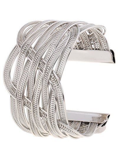Cut Out Chain Cuff Bracelet - SILVER  Mobile
