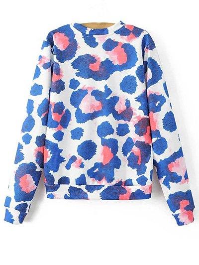 Colorful Leopard Round Neck Long Sleeve Sweatshirt - BLUE L Mobile