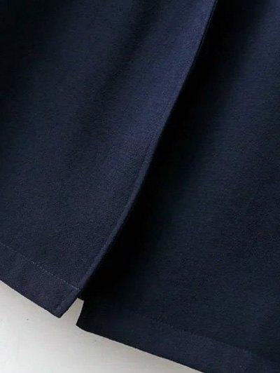 Side Slit Lapel Neck Long Sleeve Trench Coat - PURPLISH BLUE L Mobile