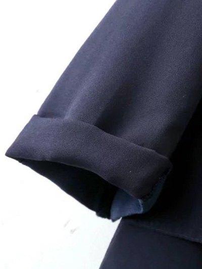 Side Slit Lapel Neck Long Sleeve Trench Coat - PURPLISH BLUE M Mobile