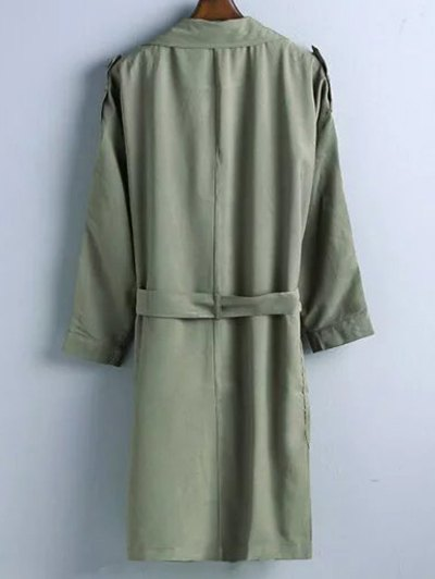 Trench Coat - OLIVE GREEN M Mobile