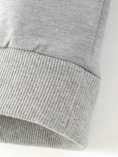 Floral Pattern Grey Sweatshirt - GRAY M Mobile