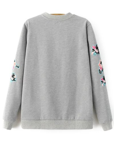 Floral Pattern Grey Sweatshirt - GRAY S Mobile