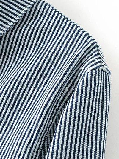 Striped Denim Jacket - BLUE M Mobile