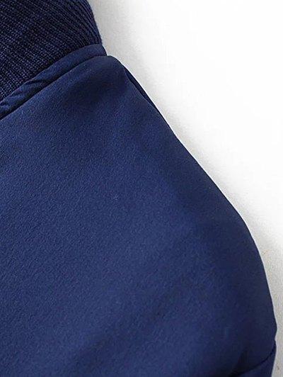 Slim Zipper Embellished Stand Collar Bomber Jacket - BLACK L Mobile