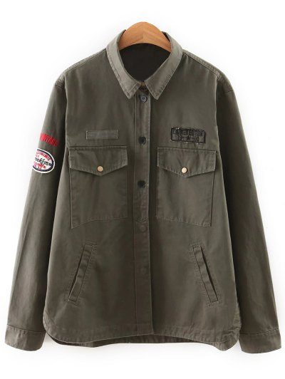 Patch Design Utility Jacket - ARMY GREEN M Mobile