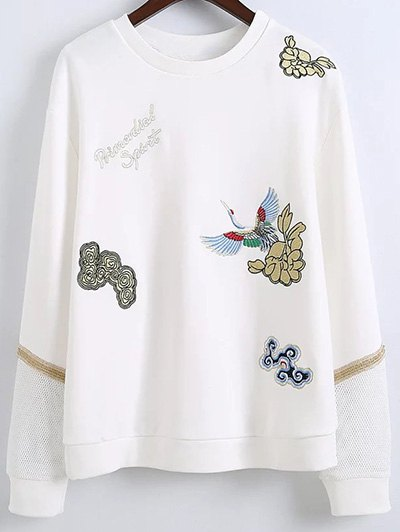 Embroidered Round Neck Long Sleeve Sweatshirt - WHITE L Mobile