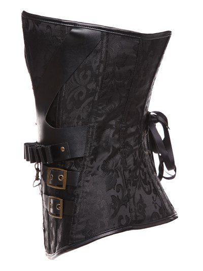 Lace Up Belt Paisley Corset With T-Back - BLACK M Mobile