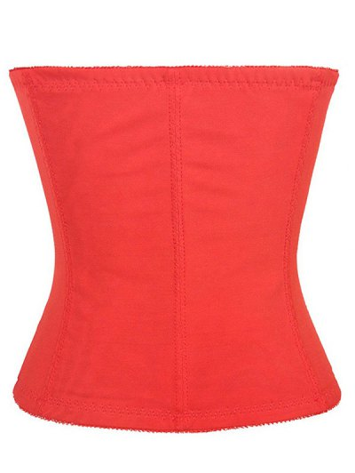 Lacework Spliced Waist Training Corset - RED L Mobile
