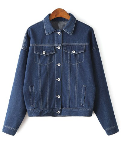 Embroidered Bat-Wing Sleeve Jean Jacket - BLUE M Mobile