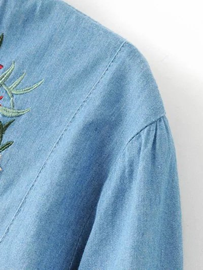 Floral Embroidered Chambray Dress - BLUE L Mobile