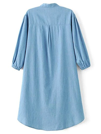 Floral Embroidered Chambray Dress - BLUE S Mobile