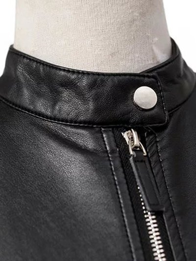 Dragon Embroidered Stand Collar Faux Leather Jacket - BLACK M Mobile