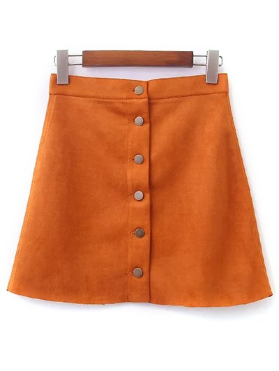 Faux Suede A-Line Skirt - EARTHY L Mobile