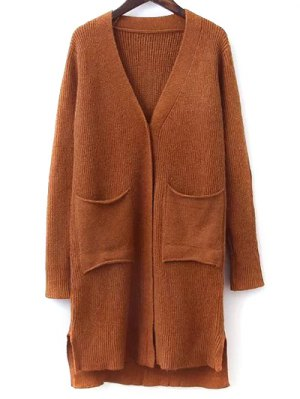 Elbow Patch High Low Hem Cardigan - Ginger