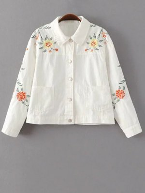 Floral Embroidered Turn-Down Collar Jacket - White