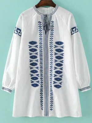 Round Neck Embroidered Long Sleeve Dress - White