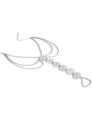 Blossom Sequins Rhinestone Anklet - Silver