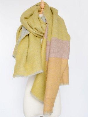 Colorblocked Shawl Scarf - Yellow