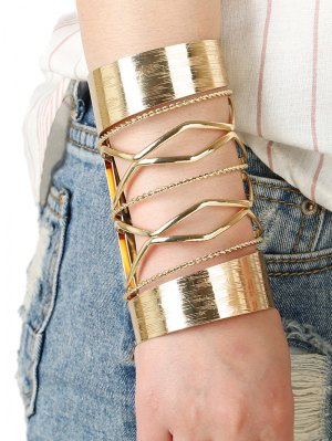 Cut Out Twisted Crisscross Cuff Bracelet - Golden