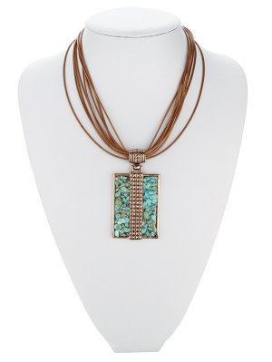 Tiered Rectangle Turquoise Multilayered Necklace - Rose Gold