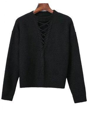 Con Cordones De Cable Suéter De Punto - Negro