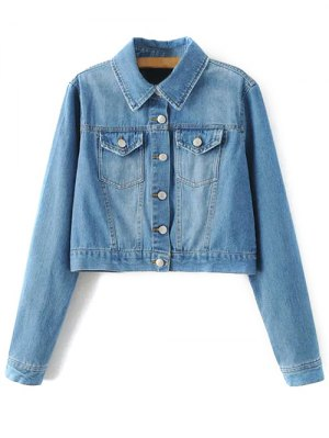 Embroidered Back Denim Jacket - Blue
