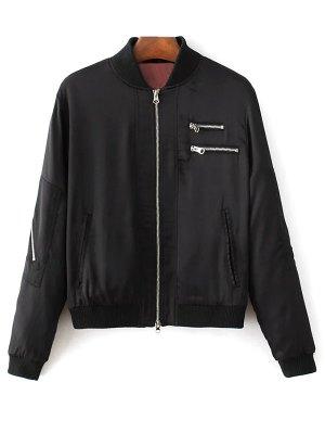 Slim Zipper Embellished Stand Collar Bomber Jacket - Black