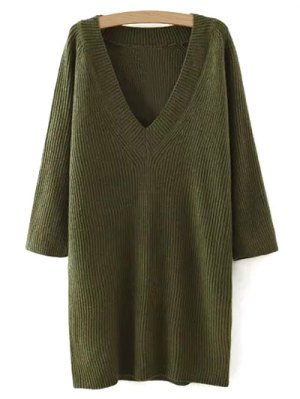 Solid Color Plunging Neck Sweater Dress - Green