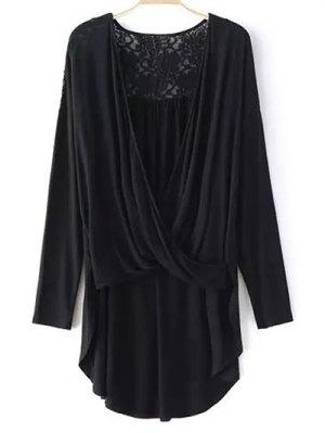 Lace Trim Long Sleeve High Low T-Shirt - Black