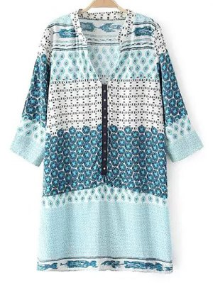 V Neck 3/4 Sleeve Shift Dress - Light Blue