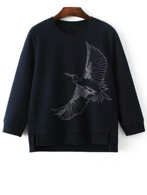 Bird Embroidered Crew Neck Sweatshirt - Cadetblue