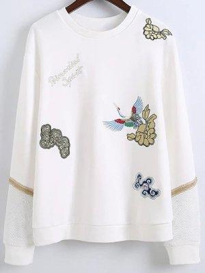 Embroidered Round Neck Long Sleeve Sweatshirt - White