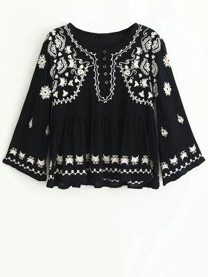 Embroidered Boho Top - Black