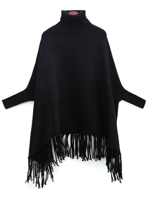 Tassels Turtle Neck Batwing Jumper - Black