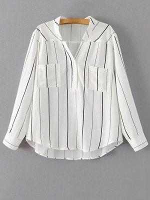 V Neck Full Sleeve Blouse - White